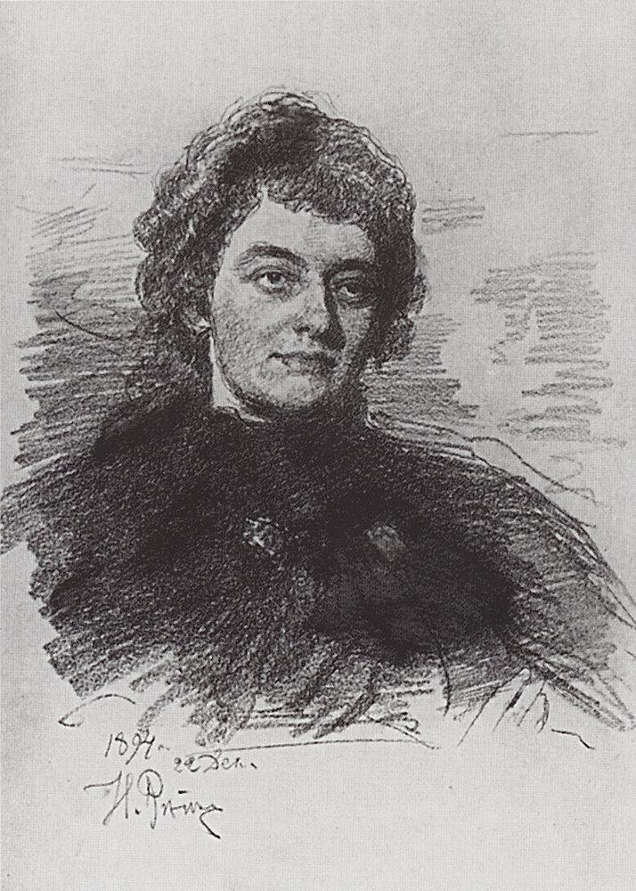 З. Гиппиус на рисунке И. Репина, 1894 год (Wikimedia Commons)