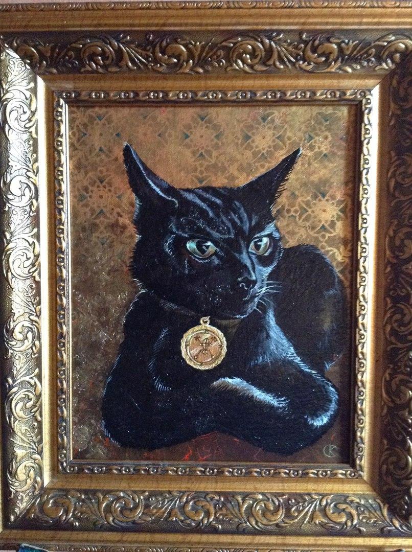 """""""Дух Баэль"""" (портрет чёрного кота), 2016 г. Холст, акрил, фактуры, 240х300 мм. Художник Кристина Синдаловская, источник фото: https://vk.com/club133092307"""