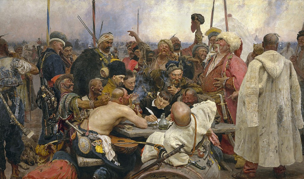 "И. Е. Репин. ""Запорожцы пишут письмо турецкому султану"". 1891 г. (Wikimedia Commons)"