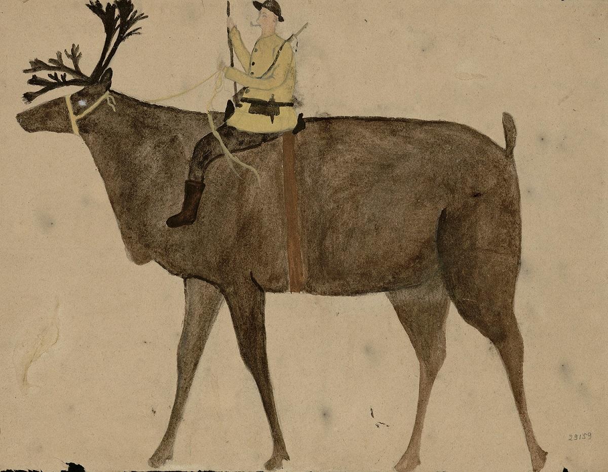 Неизвестный художник (эвенки). «Охотник верхом на олене». 1929 г. Бумага, гр. карандаш, акварель