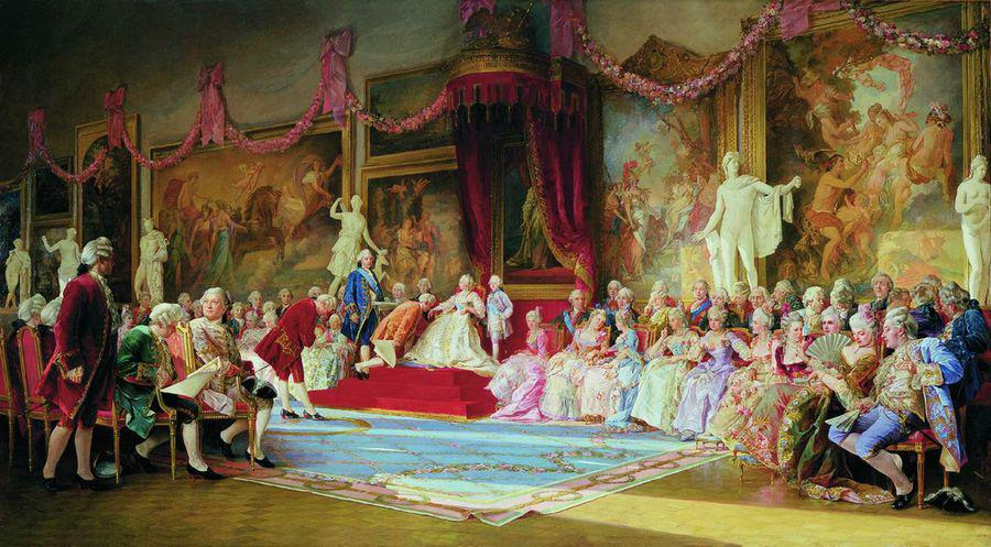 """""""Инаугурация Императорской Академии художеств 7 июля 1765 года"""", картина В. Якоби. Источник: Wikimedia Commons)"""