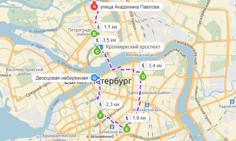 Карта маршрута  №  2 (точки маршрута обозначены латинскими буквами)
