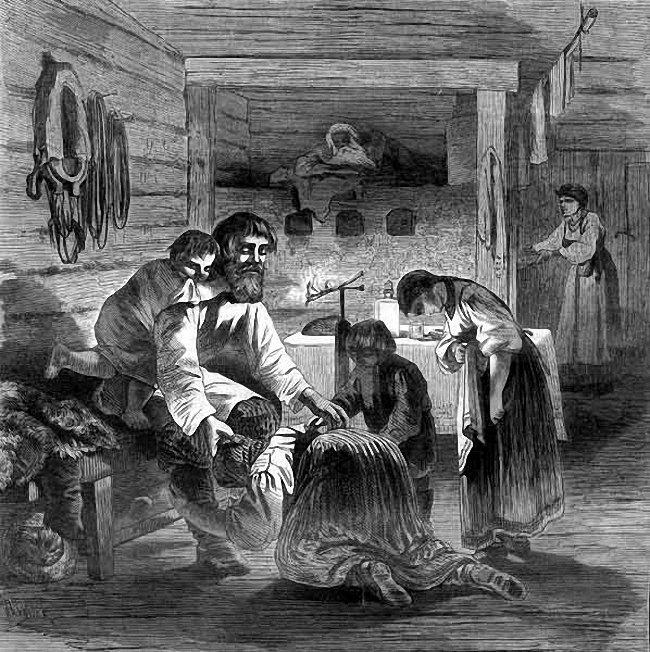 К. Крыжановский. Прощёный день в крестьянской семье. XIX в. (Wikimedia Commons)