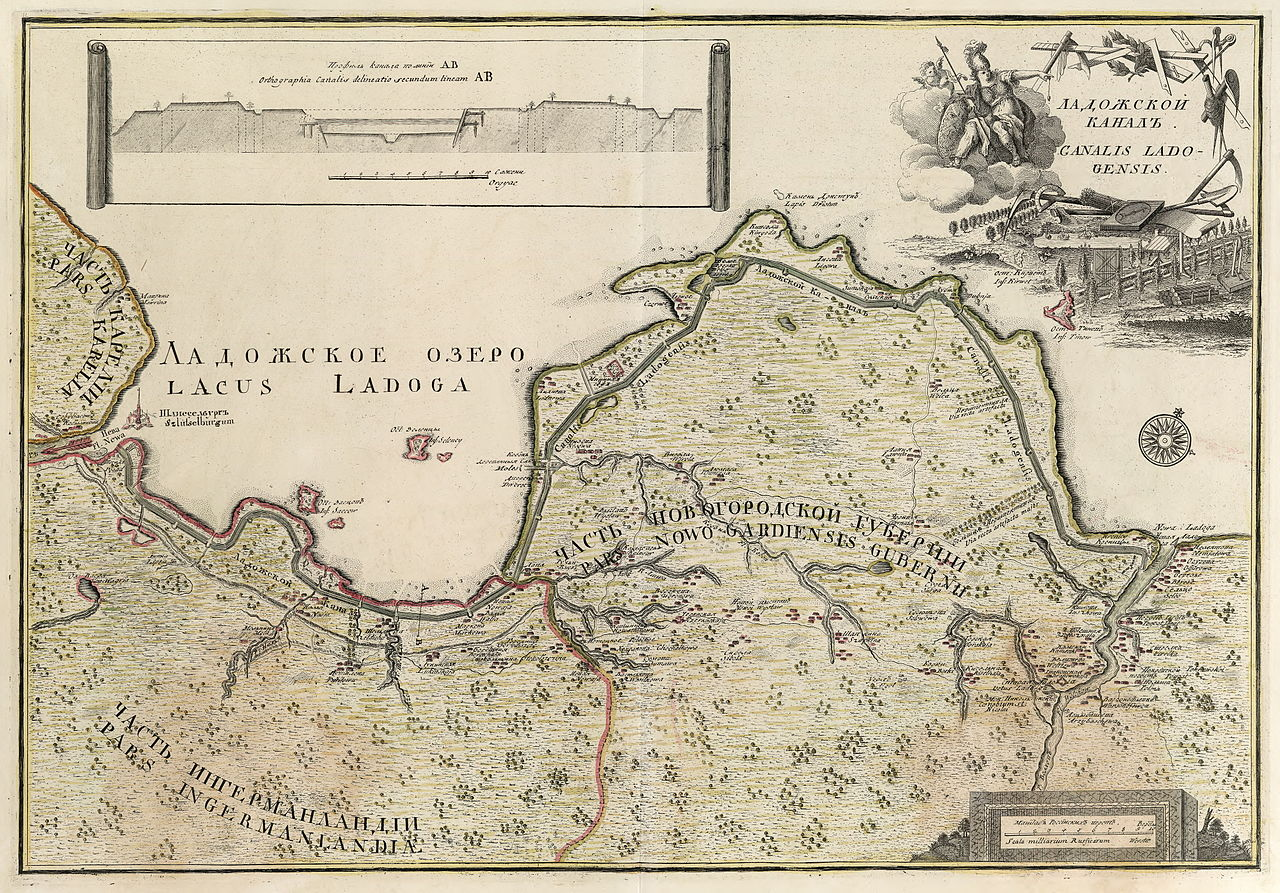 Карта Ладожского канала (1741-42). Автор: Johann Elias Grimmel (1703-59) (Wikimedia Commons)