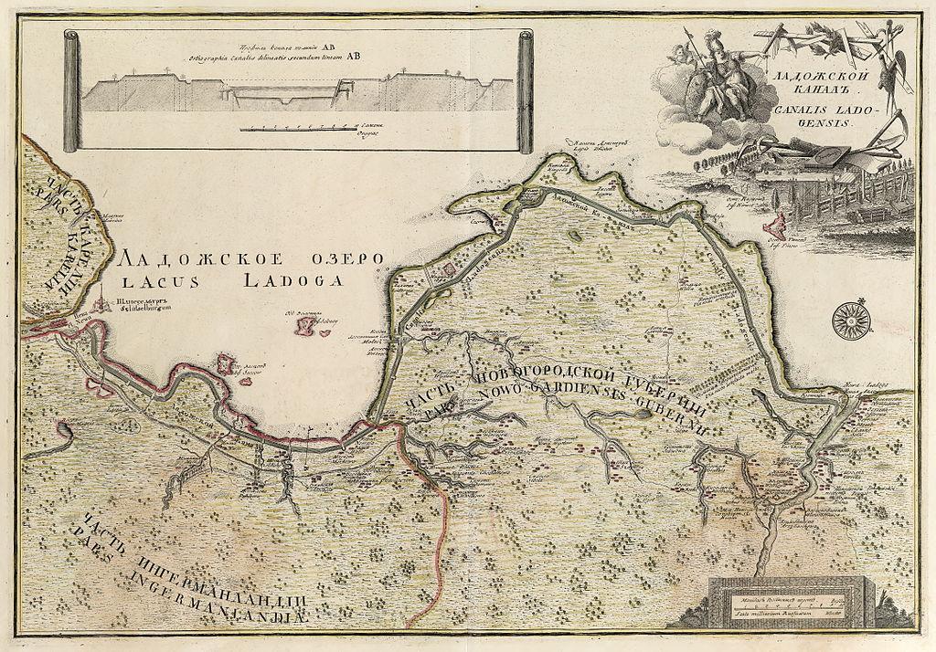 Карта Ладожского озера (1741-42). Автор: Johann Elias Grimmel (1703-59).