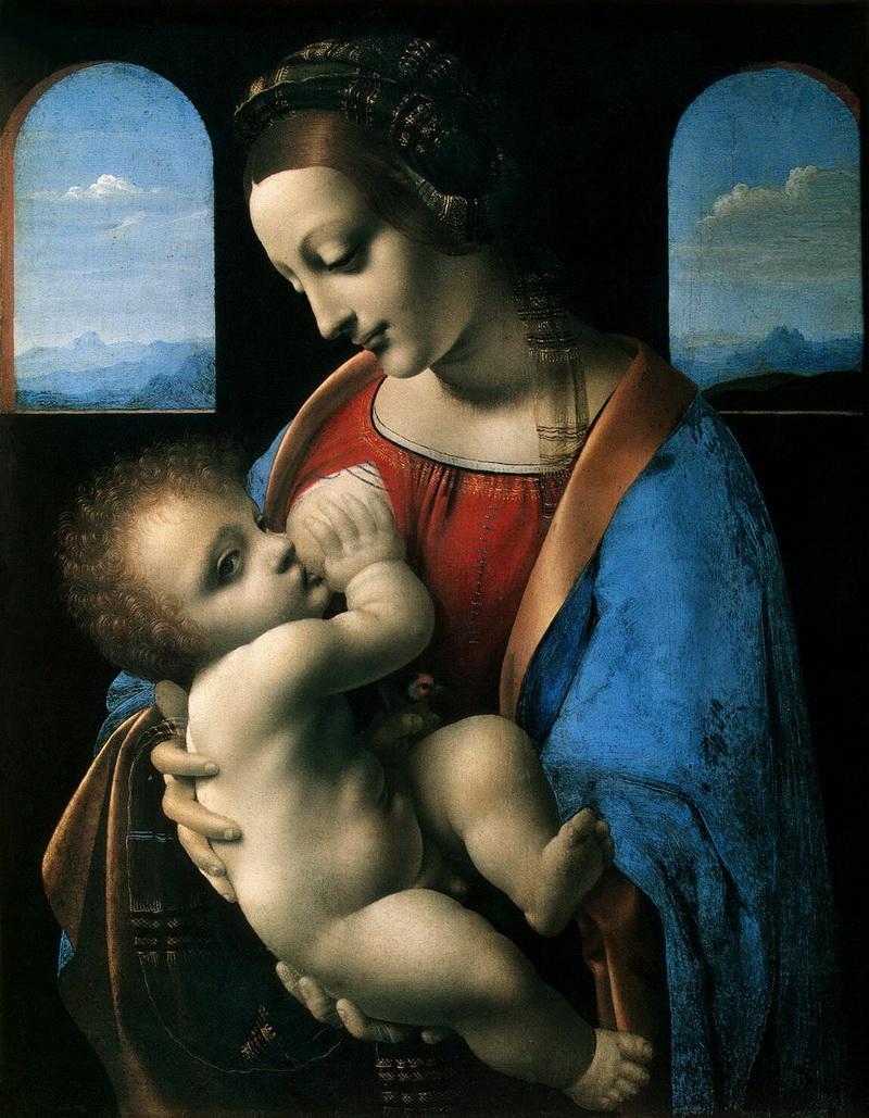 Леонардо да Винчи. Мадонна с младенцем (Мадонна Литта) (1490 - 1491), источник фото: http://www.liveinternet.ru/users/3485865/post233213742/