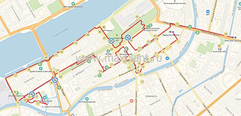 """Карта маршрута """"Исаакиевский собор - Новая Голландия"""""""