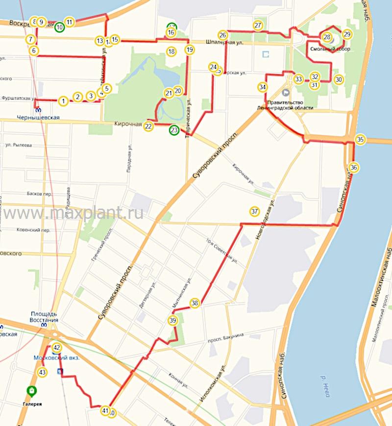 """Карта маршрута """"Таврический - Смольный"""""""