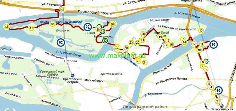 """Карта маршрута: """"Острова: Петроградский, Аптекарский, Каменный, Елагин"""""""