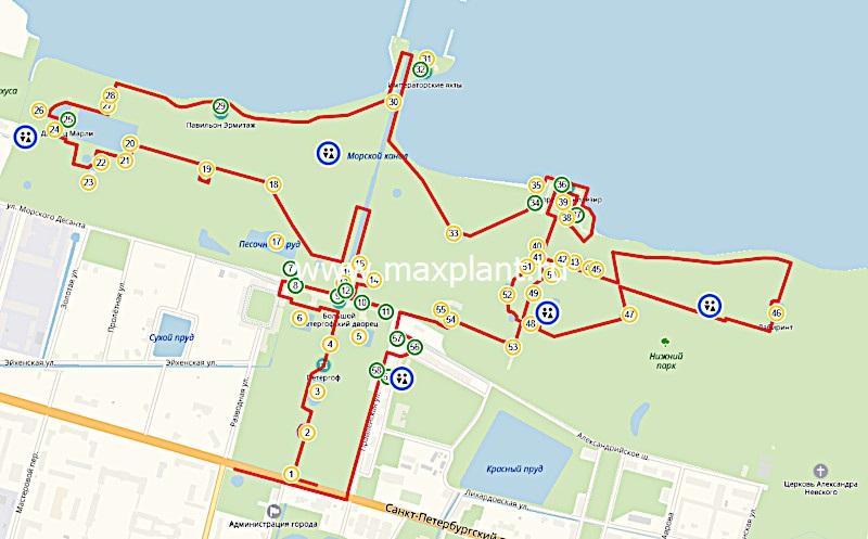 "Карта маршрута ""Фонтаны Петергофа"""