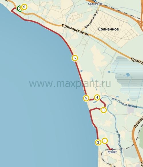 "Карта маршрута ""Пляжи Финского залива"""