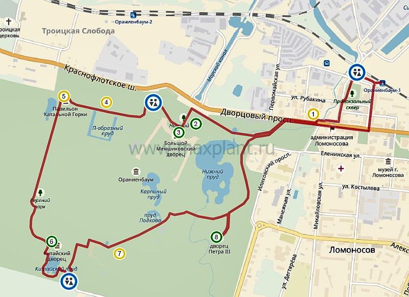 "Карта маршрута ""Ораниенбаум"""