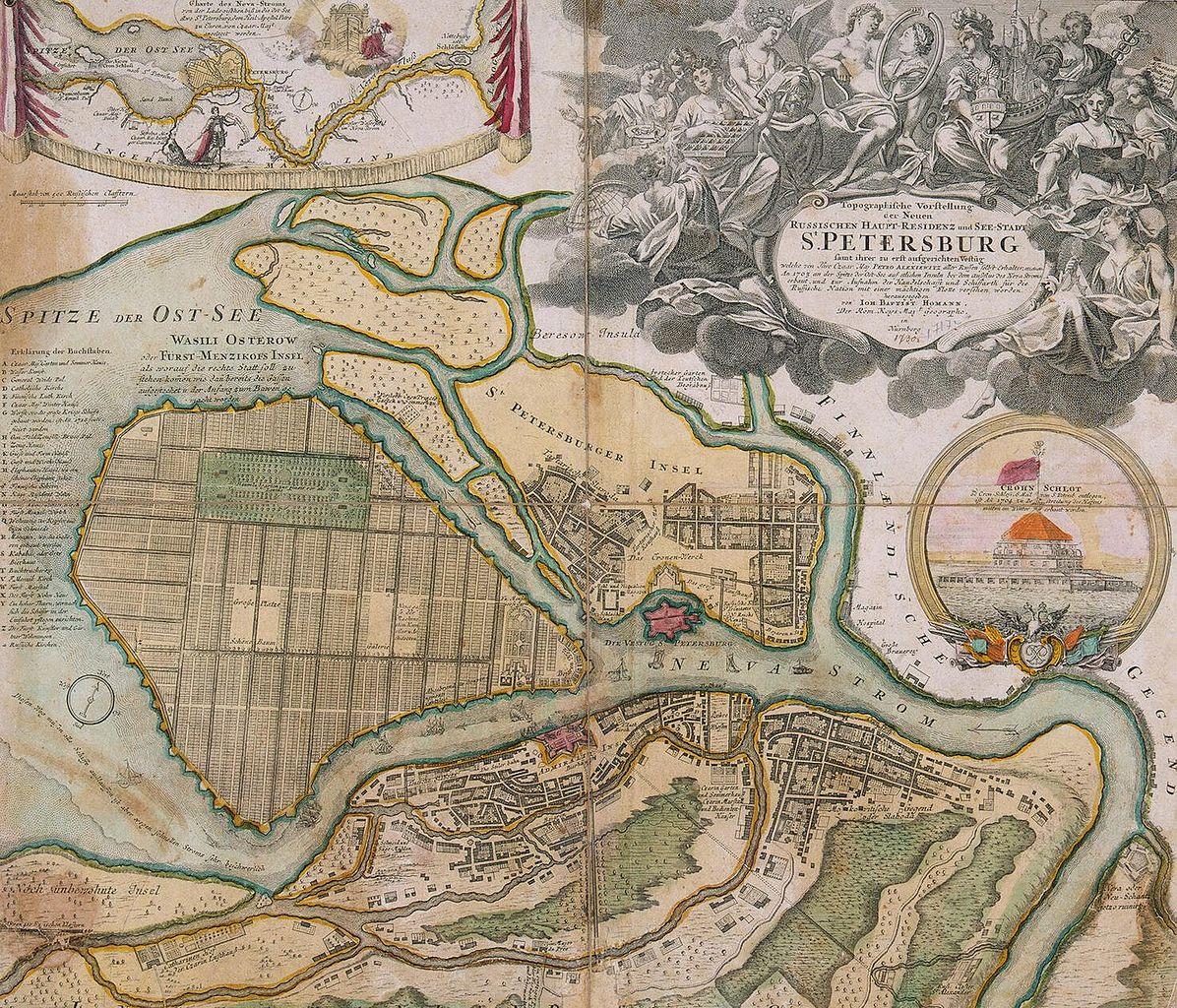 План Санкт-Петербурга И. Хоманна. 1720-е (до 1725). Автор: Johann Homann (Wikimedia Commons)