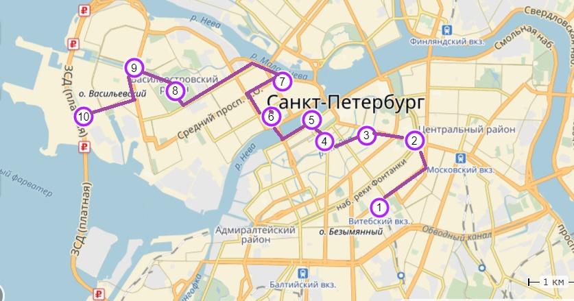 Карта маршрута  № 1 (точки маршрута обозначены цифрами)