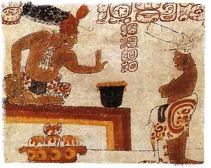 Жрец майя запрещает простолюдину дотрагиваться до напитка из какао. Фото: Mini Clever (Wikimedia Commons)