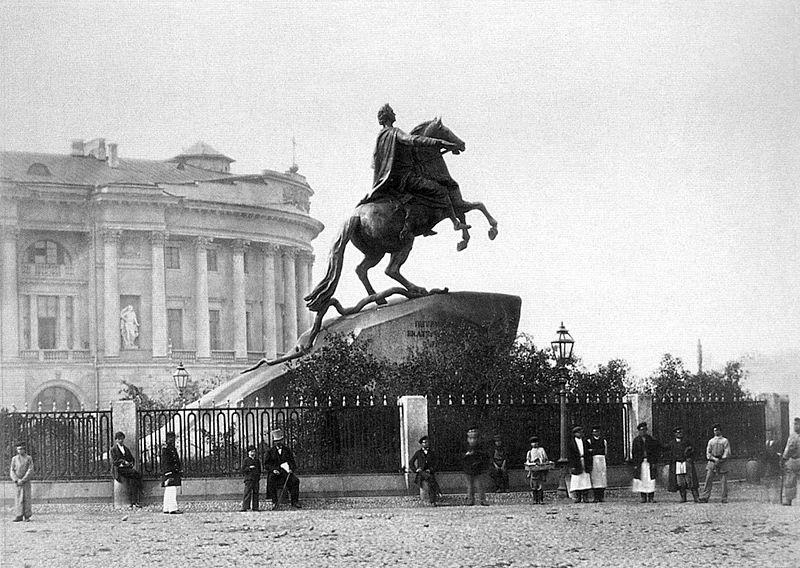 Медный всадник. Фото конца XIX века, источник фото: Wikimedia Commons, Автор:  Джованни (Иван) Бианки
