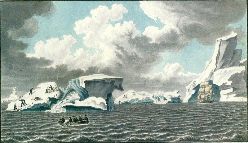 Вид ледяных островов 4 марта 1820 г. Акварель из альбома П. Михайлова (Wikimedia Commons)