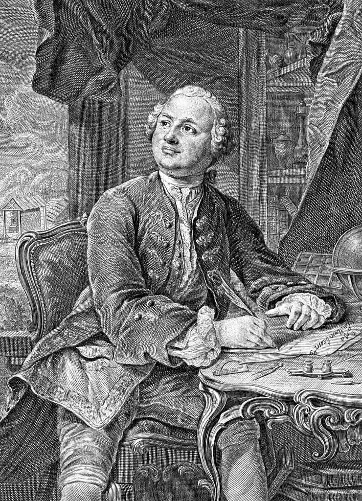 М. В. Ломоносов. Прижизненное изображение. Бумага, гравюра резцом. Э.Фессар и К.А.Вортман. 1757 г. Источник::Template:Lang-ru (Wikimedia Commons)