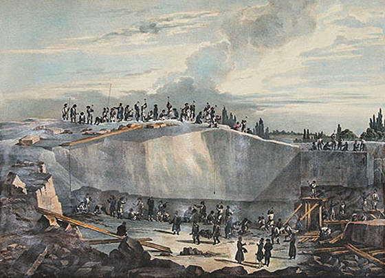 Вид работ в Пютерлакской каменоломне. Литография Бишбуа и Ватто по рисунку О. Монферрана. 1836 г. (Wikimedia Commons)