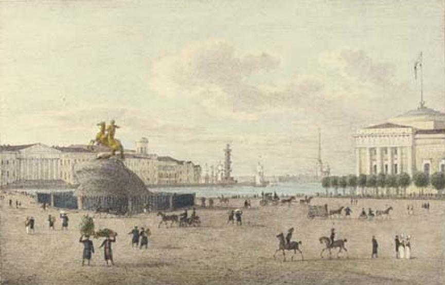 Сенатская площадь с монументом Петру I. Автор: Андрей Ефимович Мартынов (Wikimedia Commons)