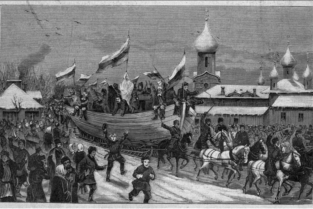 """На святках в городе Тихвин, конец XIX – начало ХХ в. Литография с рис. С. Шамоты. """"Всемирная иллюстрация"""""""