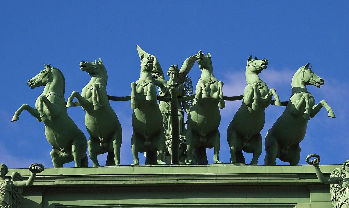 Нарвские триумфальные ворота, колесница Слава, фото с сайта Glavguide.com