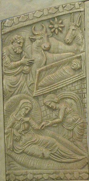 Рождество Христово (кафедра Максимиана, слоновая кость, 550 год), источник фото: Wikimedia Commons, Автор: User:Testus
