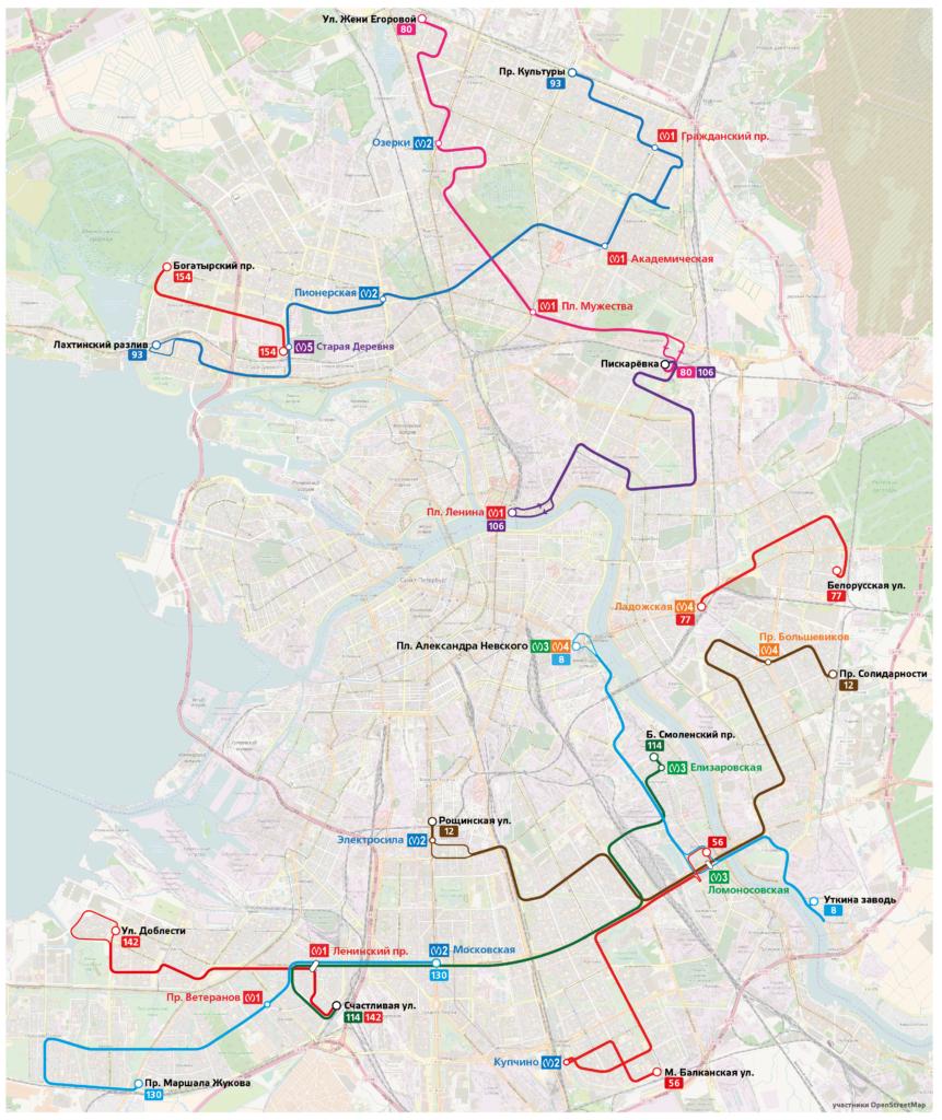 Схема автобусных маршрутов, работающих по ночам в праздничные дни