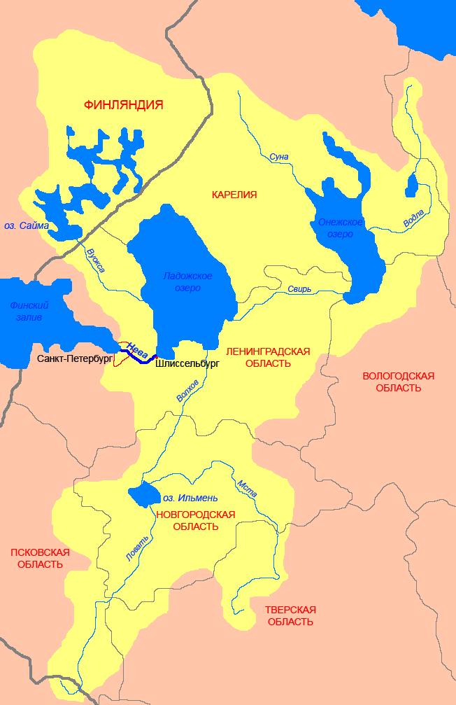 Схема Невско-Ладожского бассейна. Автор фото: СафроновАВ (Wikimedia Commons)