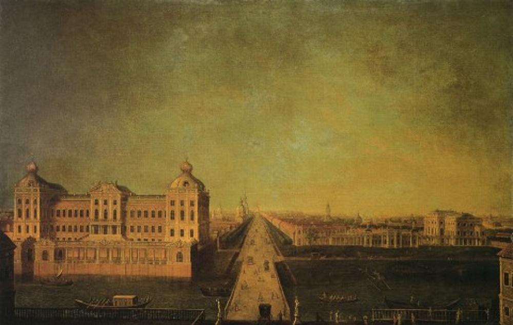 Вид Невского проспекта от Аничкова моста с домом И. И. Шувалова. 3-я четверть XVIII в.