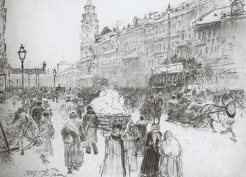 Невский проспект. Зарисовка Репина (1887), источник фото: Wikimedia Commons Автор: И. Е. Репин