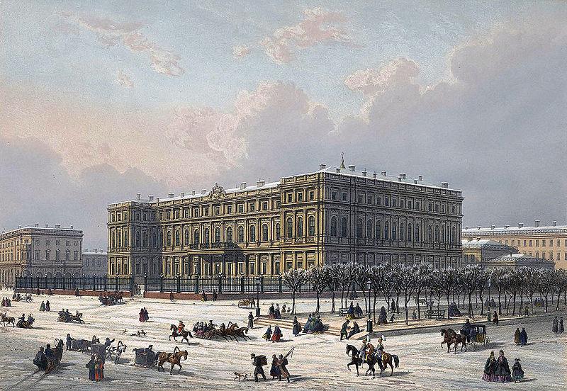 Николаевский дворец в Санкт-Петербурге, литография по рисунку. Автор:  Жозеф-Мария Шарлемань-Боде - РНБ, Wikimedia Commons