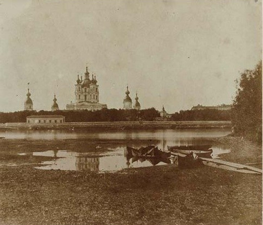 Охта 1859 год, вид на Смольный собор с правого берега Невы.