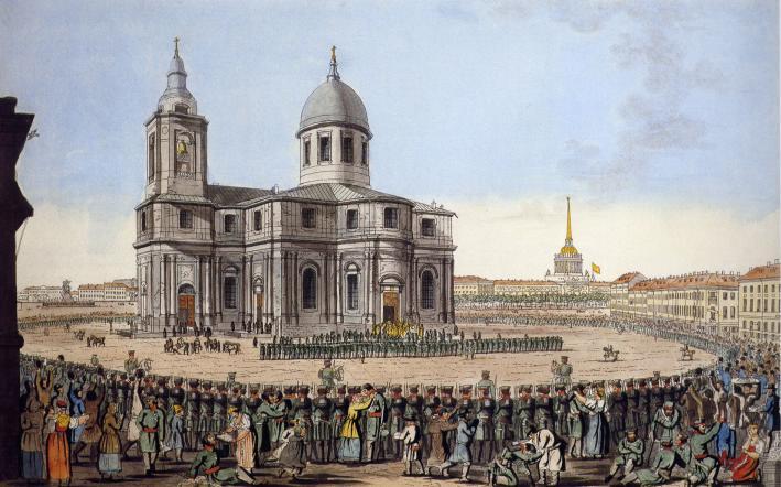 Третий Исаакиевский собор на гравюре И. А. Иванова. 1816 г.
