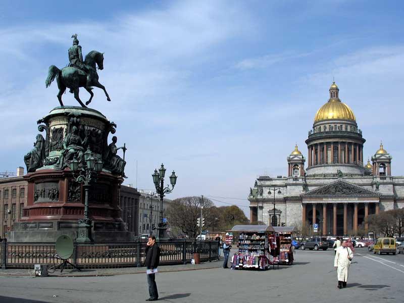 Памятник императору Николаю I и Исаакиевский собор, источник фото: http://palmernw.ru/isaakievskiy/isaakievskiy.html Авторы: Возлядовская А.М., Гуминенко М.В., фото, 2009-2010