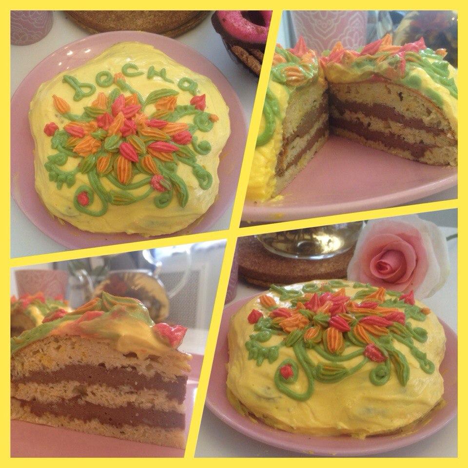 Тортик с ванильным бисквитом и шоколадным суфле, источник фото: https://vk.com/dukanofficial Автор: Алёна Исакова