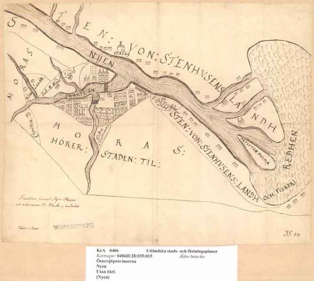 План города с крепостью Ниешанц, датированный 1643 г.
