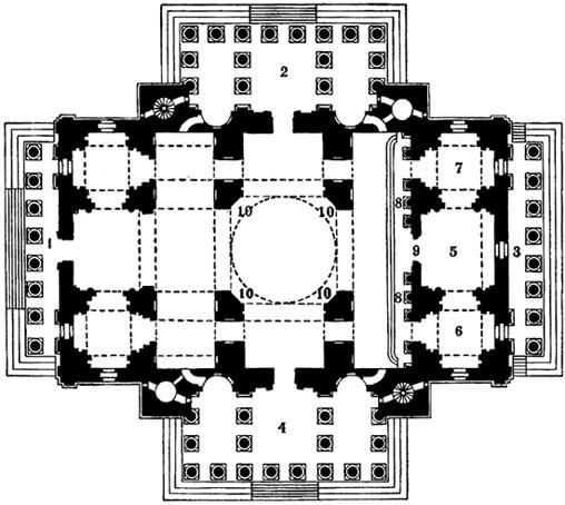 План Исаакиевского собора в Санкт-Петербурге, источник фото: Wikimedia Commons