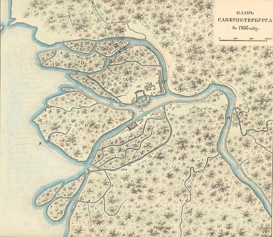 Реконструкция плана Петербурга по состоянию на 1705 год. Показана плотина Ивана Матвеева через реку Фонтанку (Wikimedia Commons)