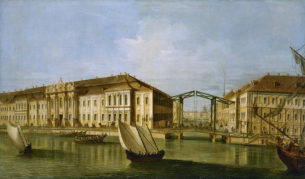 Неизвестный итальянский художник, по рисунку М. И. Махаева. Вид Зимнего дворца. 1750-е годы. (Wikimedia Commons)