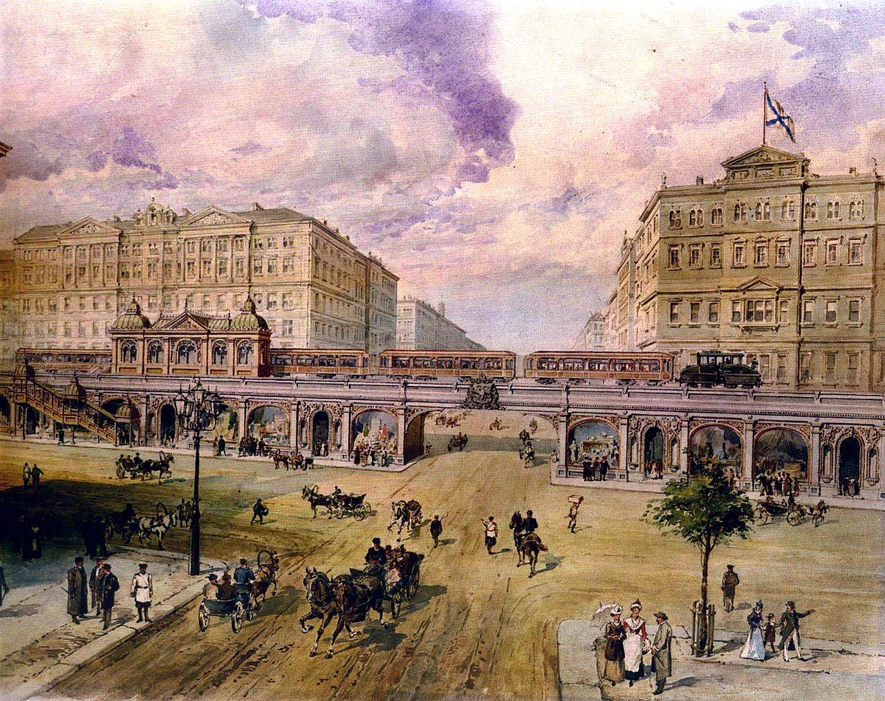 Проект Петербургского метрополитена П. И. Балинского (1900-е). Автор фото: Неизв. (Wikimedia Commons)