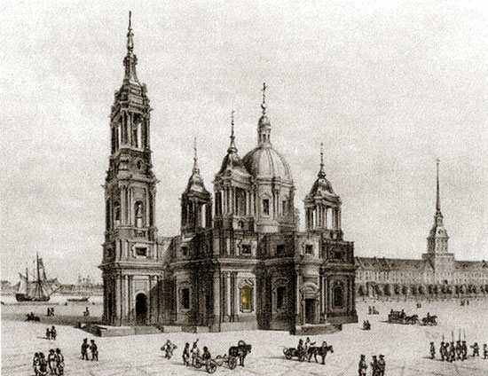 Проект А. Ринальди третьего Исаакиевского собора. Литография с рисунка О. Монферрана, источник фото: Wikimedia Commons