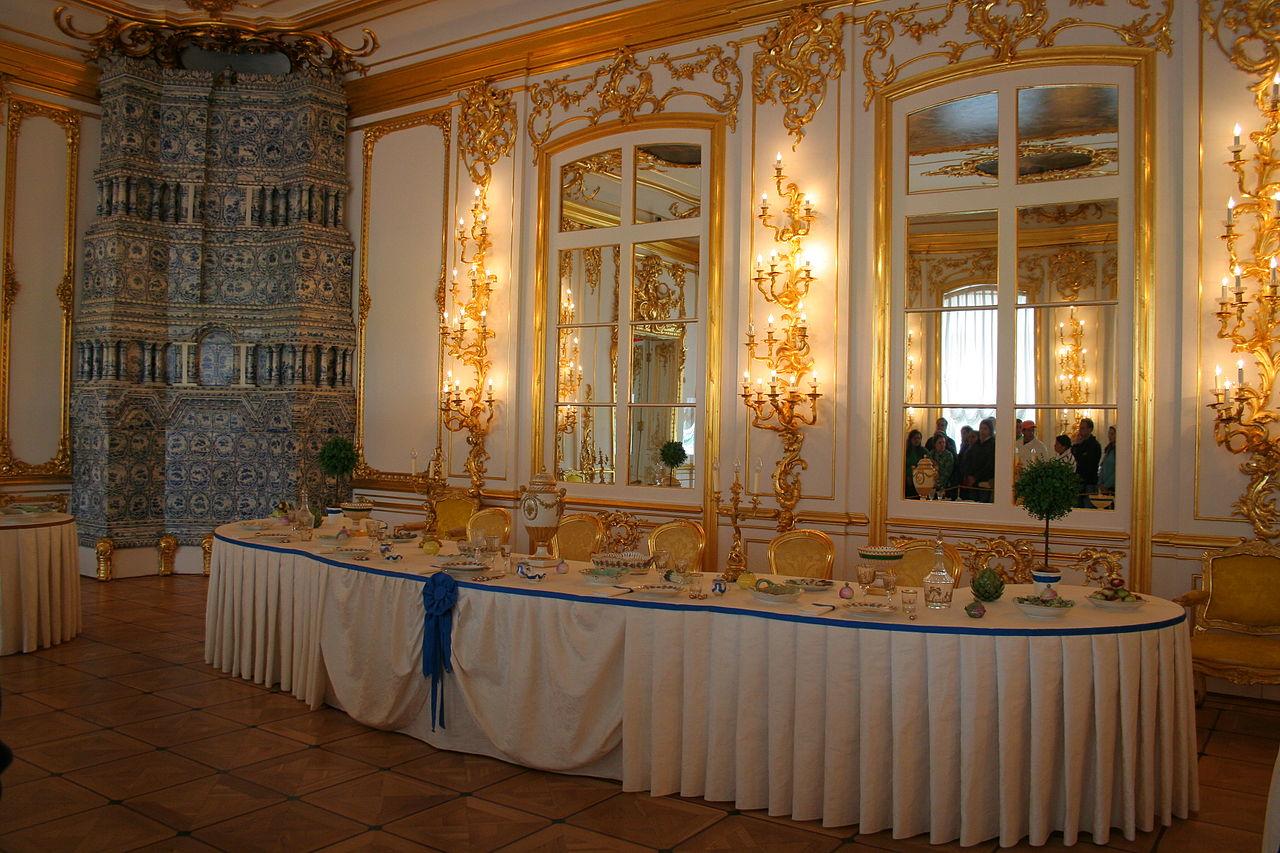 Екатерининский дворец в Пушкине. Столовая. Автор фото: A.Savin (Wikimedia Commons · WikiPhotoSpace)