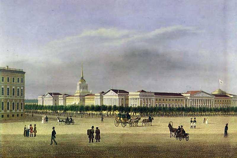 Бульвар на месте Александровского сада. 1810-е гг.