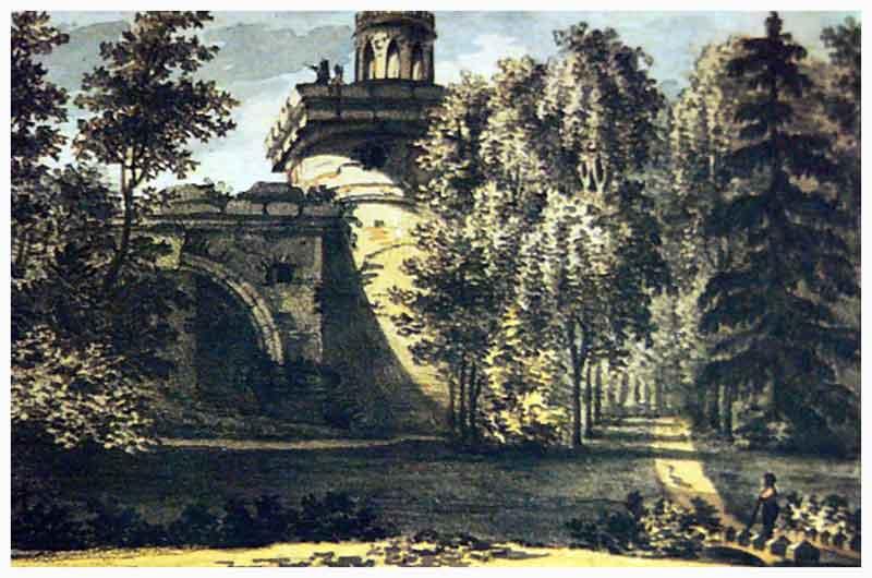 Вид на Башню - Руину в Царском Селе. Рисунок В. П. Лангера, 1820 г.. (Wikimedia Commons)