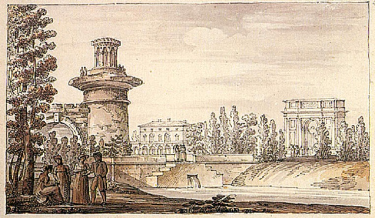 """Башня-руина и Орловские ворота в Царскосельском парке"" Джакомо Кваренги (Wikimedia Commons)"