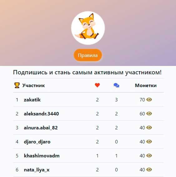 Конкурсы активности в Инстаграм