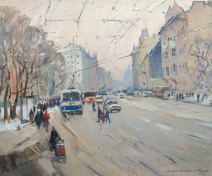 Семенов А. На Суворовском проспекте. 1975, источник фото: Wikimedia Commons