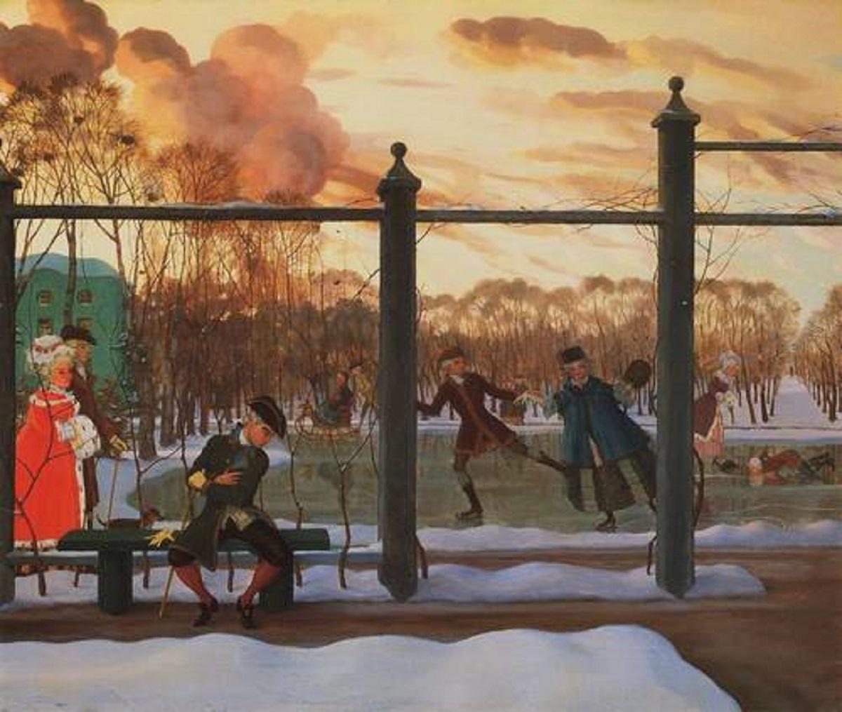 Русский музей: Сомов К. А. Зима. Каток. 1915 г.