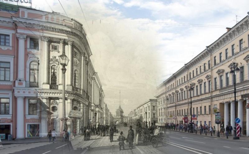 Невский проспект у Полицейского моста, Андре Дюран, 1843 г.